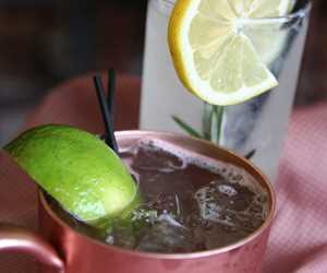 Warm weather drinks: classic Moscow Mule and seasonal special Rosemary Gin Fizz