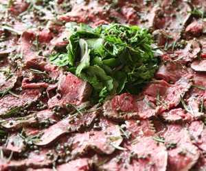 Exceptional beef carpaccio, an instant crowd pleaser!